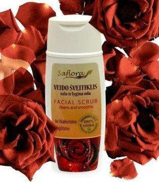Скраб для лица с лепестками роз и гиалуроновой кислотой (Saflora) 100 мл