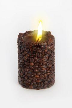 Свеча-эко ручной работы COFFEE с зернами и ароматом кофе, d8 h10 см круглая